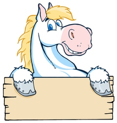 White Horse Looking Over A Blank Wood Sign vector image