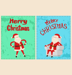 wintertime greeting cards with father frost vector image