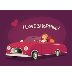 Woman Driving Shopping vector