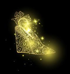 Woman sandals or lady shoes golden espadrille vector