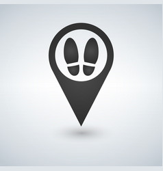 bootprints icon map pointer vector image