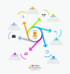 creative infographic template - 6 multicolored vector image vector image