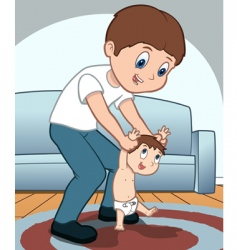 father and child playing vector image vector image
