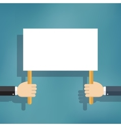 Hand holding blank protest board vector image