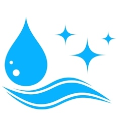 water icon with drop and wave silhouette vector image vector image