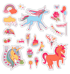 color fun stickers with unicorn cloud cake vector image vector image