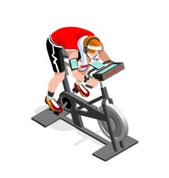 Exercise bike spinning fitness class isometric vector
