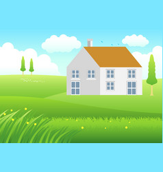 house on meadow vector image vector image