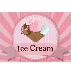 Ice Cream vintage style poster vector image