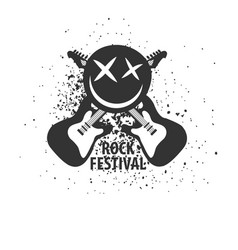 Rock festival monochrome logotype with electric vector