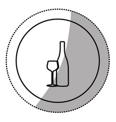 silhouette emblem wine bottle with glass icon vector image
