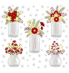 Christmas flowers in jars vector