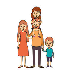 color image caricature family parents with girl on vector image
