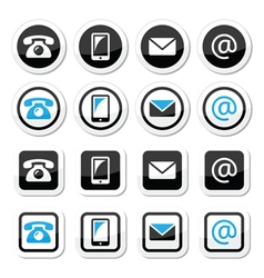 Contact labels in circle and square set - mobile vector image