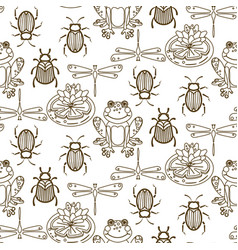elegant line style insect seamless pattern vector image vector image