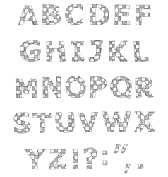 hand written checkered alphabet vector image vector image