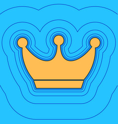 King crown sign sand color icon with vector