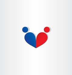 man and woman heart love blue red icon vector image