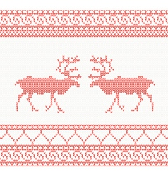 Red knitted pattern with deer vector image