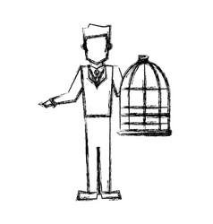 vet man with bird cage empty veterinary concept vector image