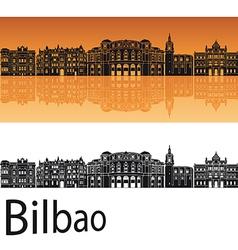 Bilbao skyline in orange background vector image