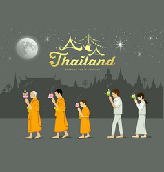 buddhist monks and people worshipers on important vector image