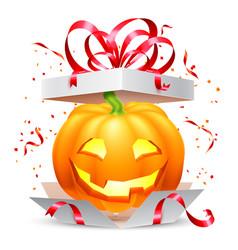 halloween pumpkin in gift box vector image vector image