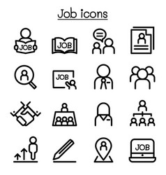 job icons set in thin line style vector image vector image