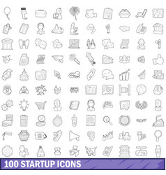 100 startup icons set outline style vector image