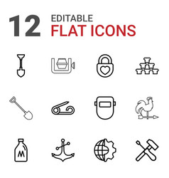 12 metal icons vector