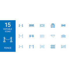 15 fence icons vector