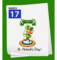 A calendar showing the 17th of March vector image