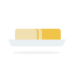 a piece butter in a plate flat isolated vector image