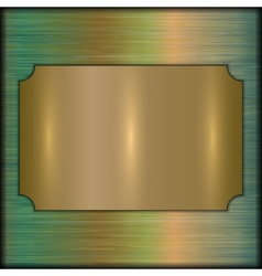 Abstract brushed gold award plate on beige vector