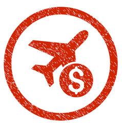 Airplane price rounded grainy icon vector