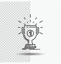 award cup prize reward victory line icon on vector image
