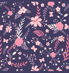 Baroque seamless pattern with pinkflowers vector
