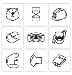 Beaver icon isolated vector