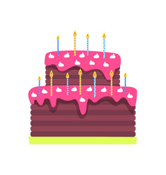 Birthday cake with burning candles isolated vector