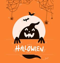 black ghost with word halloween bats vector image