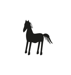 Black horse silhouette isolated on background vector image