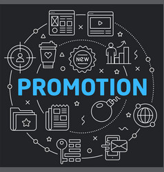 black line flat circle promotion vector image