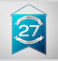 Blue pennant with inscription twenty seven years vector