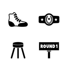 boxing equipment simple related icons vector image