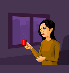 brunette pretty girl with cup of tea stock vector image vector image