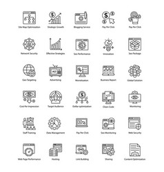 Bundle of web and seo line icons vector
