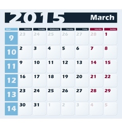 Calendar 2015 March design template vector image
