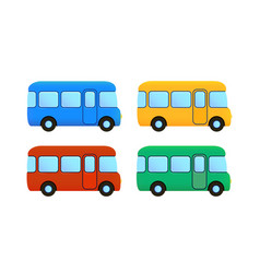 Cartoon bus icon set color car vector