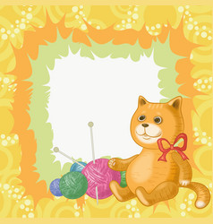 Cartoon cat and accessories for knitting vector