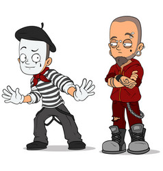cartoon french mime and punk characters set vector image